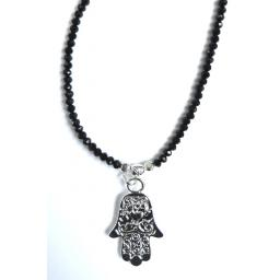 Silver and Black Hamsa necklace