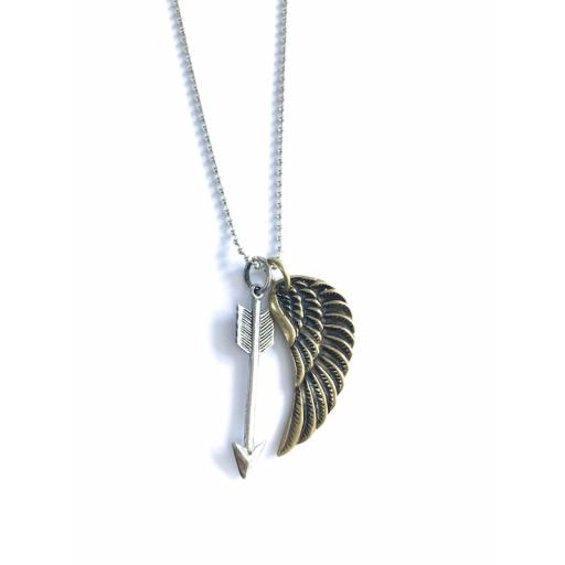 Medium brass heart with silver arrow necklace