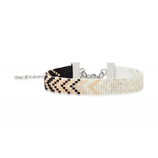 White & Silver Japanese silver seed bracelet