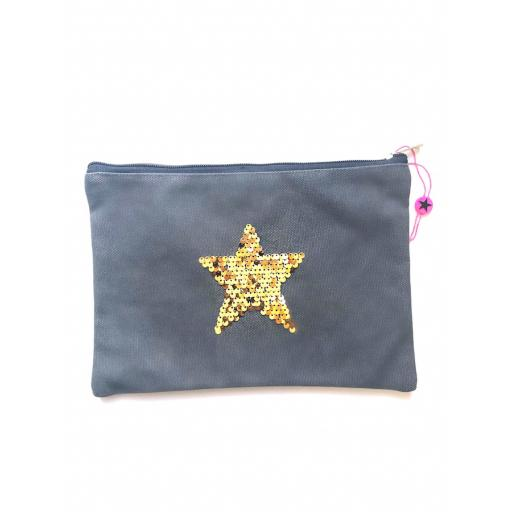 Denim Star Clutch