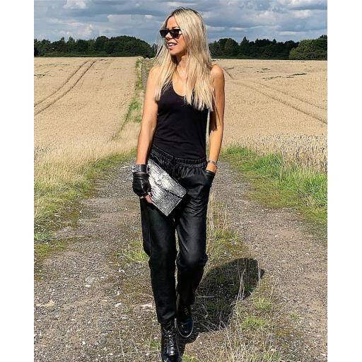 Faux Leather Star Jogger